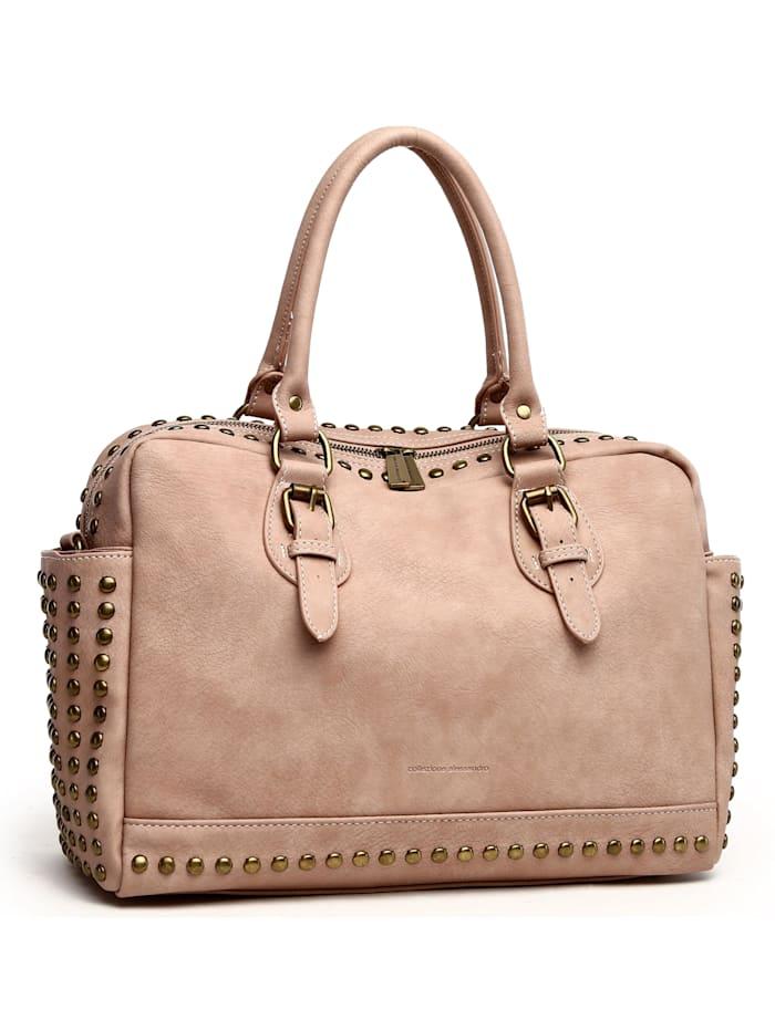 Handtasche Amelia aus stark strukturiertem, griffigen Material mit 2 Seitenfächern