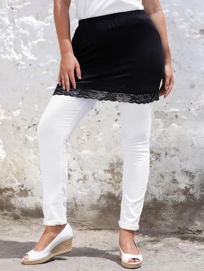 MIAMODA Shirtverlängerung mit elastischer Spitze am Saum, Schwarz