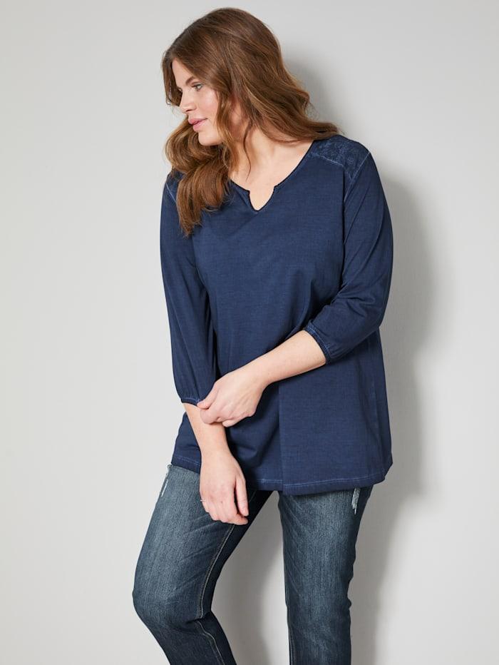 Janet & Joyce Shirt mit Spitze, Nachtblau