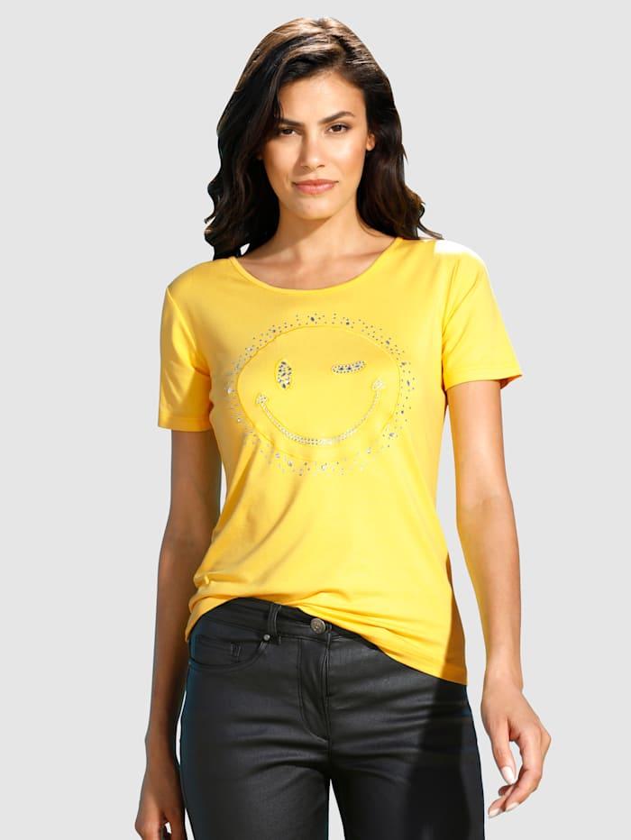 Shirt mit zwinkerndem Smiley, Gelb