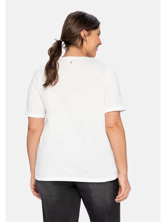 T-Shirt mit Boho-Druck und Stickereien