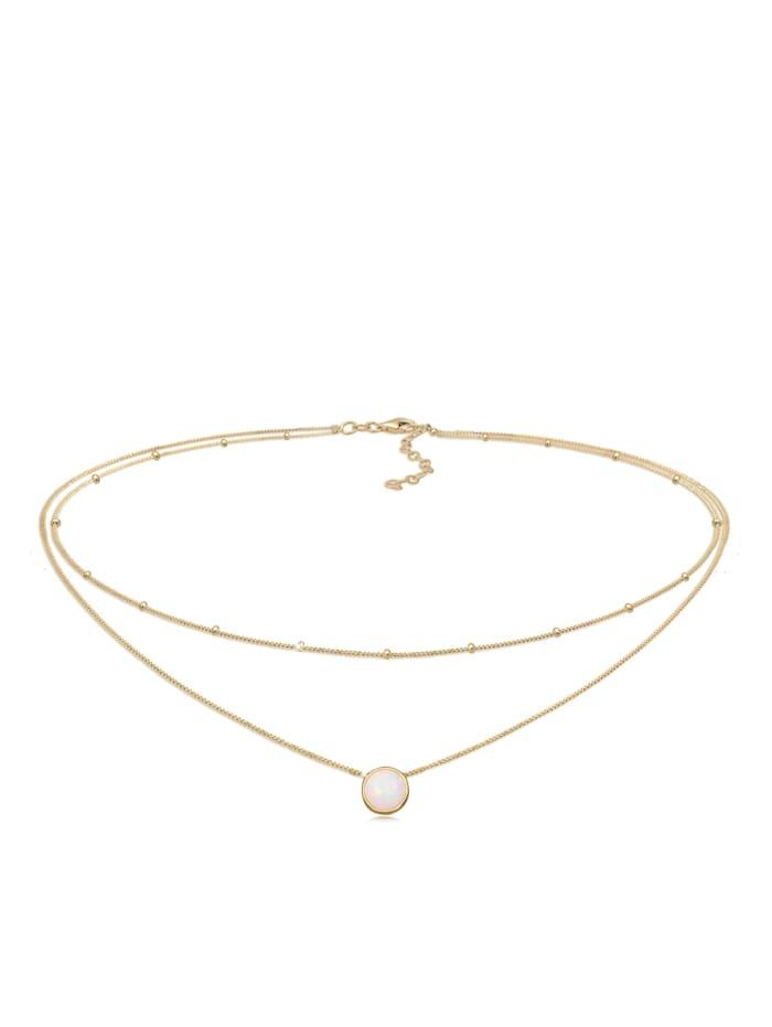Elli Halskette Choker Layer Opal Kugelkette 925 Sterling Silber, Gold