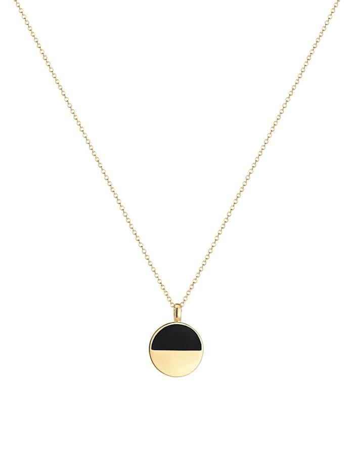 Halskette Geo Kreis Emaille Bi-Color 925Er Sterling Silber