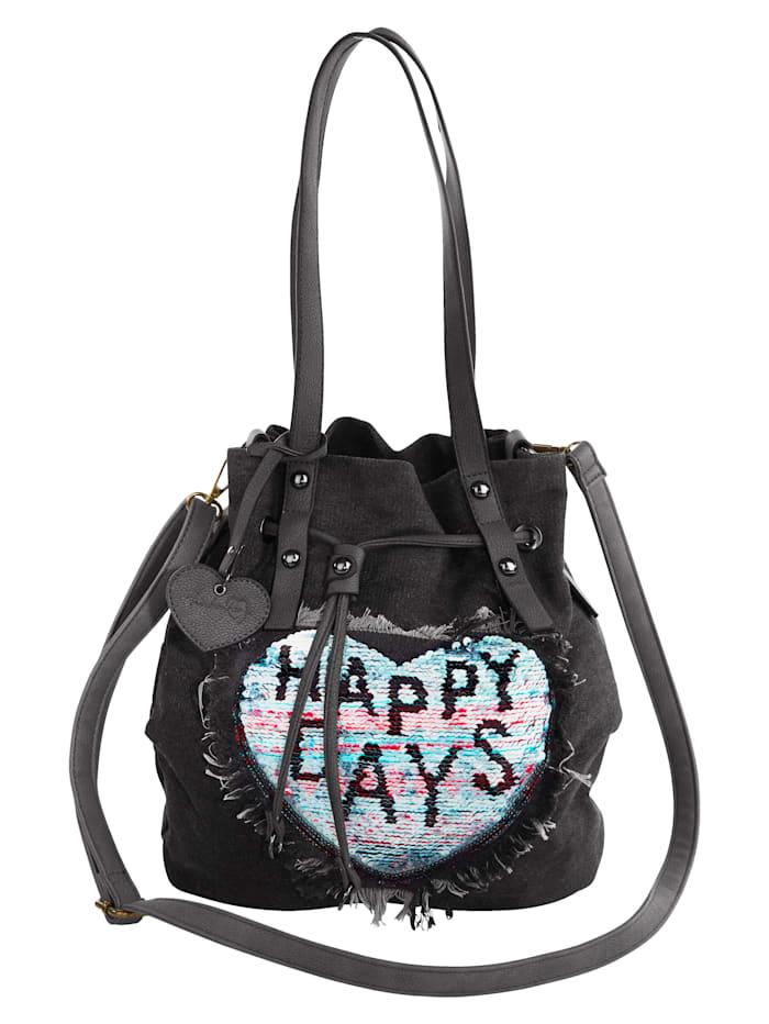 Taschenherz Beuteltasche mit farblich abgesetzten Wendepailletten, schwarz/jeans