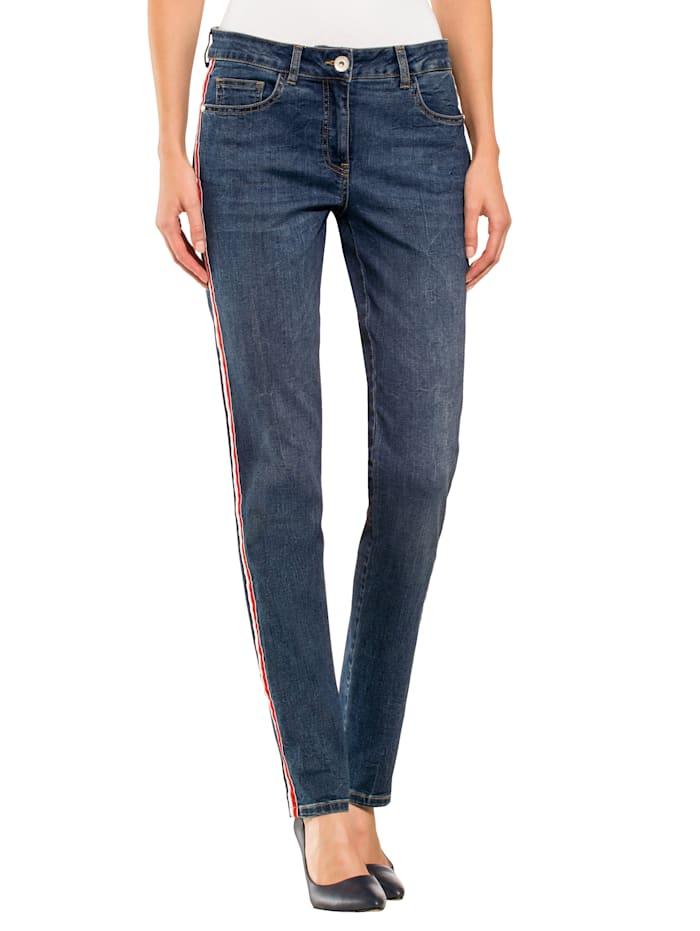 Jeans met gestreepte sierband langs de zijnaad