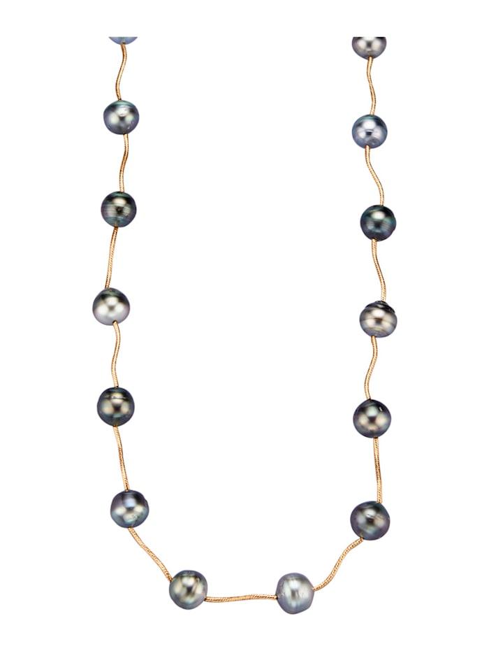 Diemer Perle Collier mit Tahiti-Zuchtperlen, Grau