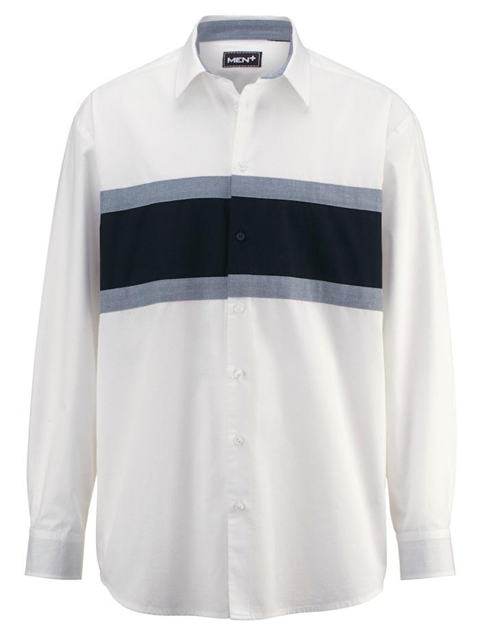 Men Plus Chemise en pur coton, Blanc/Marine