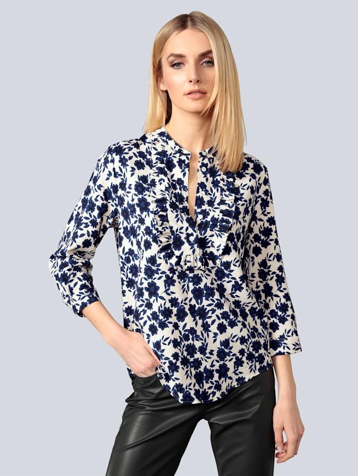 Seidensticker Schwarze Rose Bluse mit Rüschen verziert, Marineblau