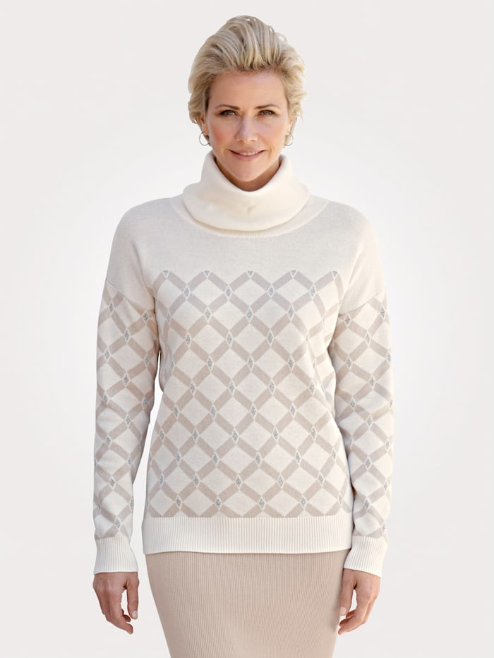 MONA Pullover mit grafischem Jacquard-Muster, Ecru/Kitt/Silberfarben