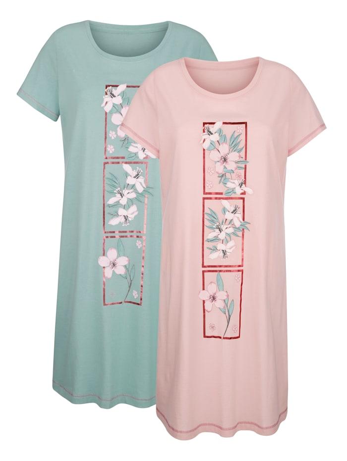 Blue Moon Chemises de nuit à imprimé fleuri, Vieux rose/Jade