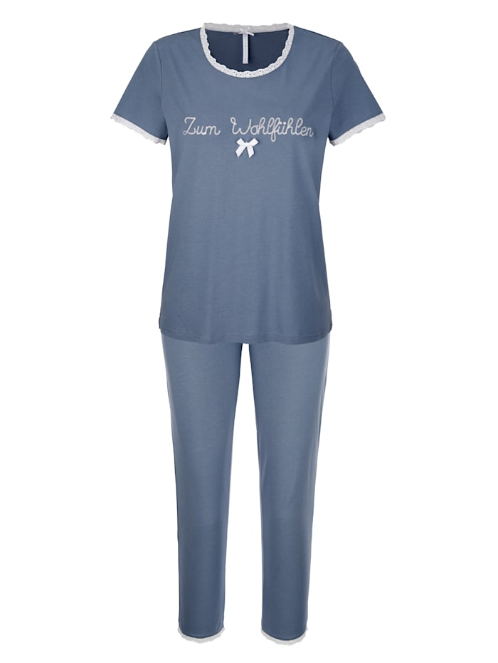Louis & Louisa Pyjama avec jolie broderie et nœud fantaisie en satin, Bleu fumée/Blanc