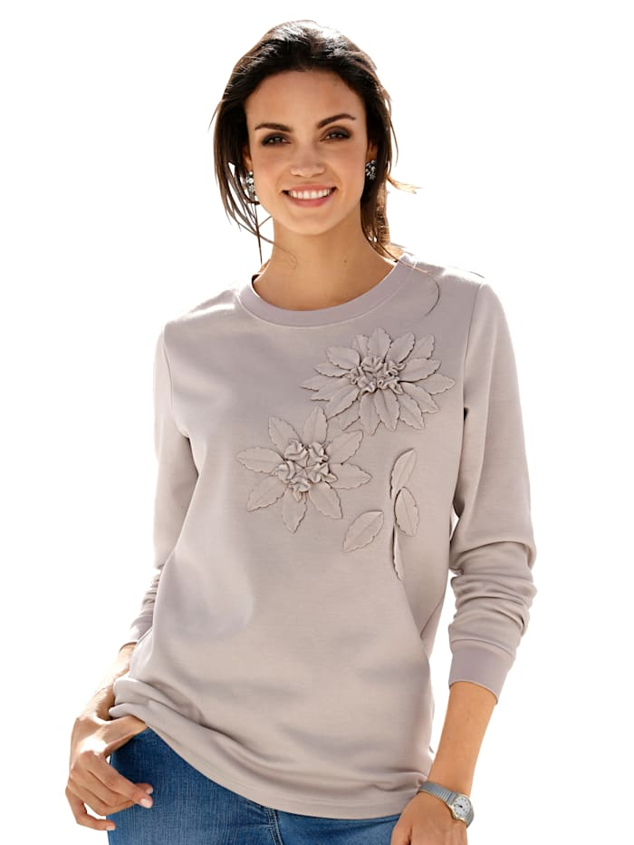 Sweatshirt mit Dekoblumen im Vorderteil