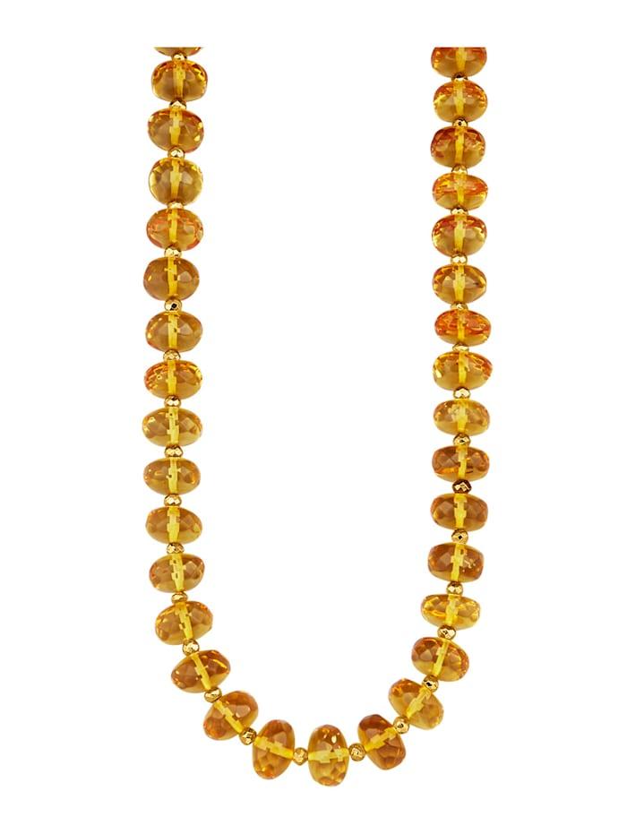 Amara Farbstein Halskette aus gelben Naturbernstein-Rondellen, Gelb