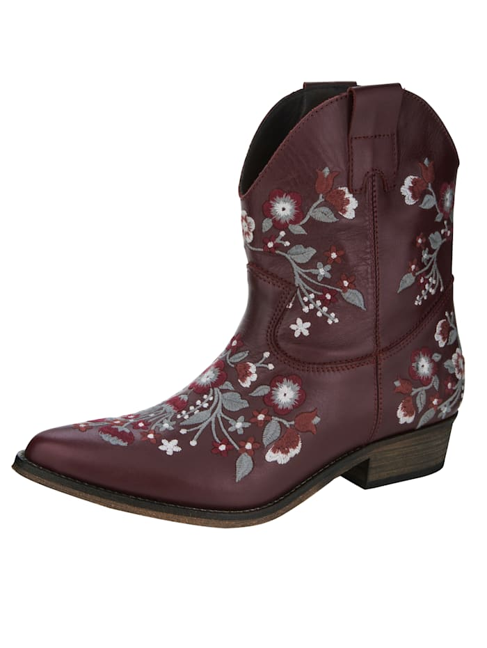 Western Boots with elaborate embroidery, Bordeaux