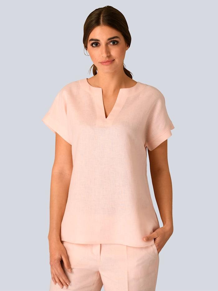 Alba Moda Bluse aus reiner Leinenqualität, Rosé