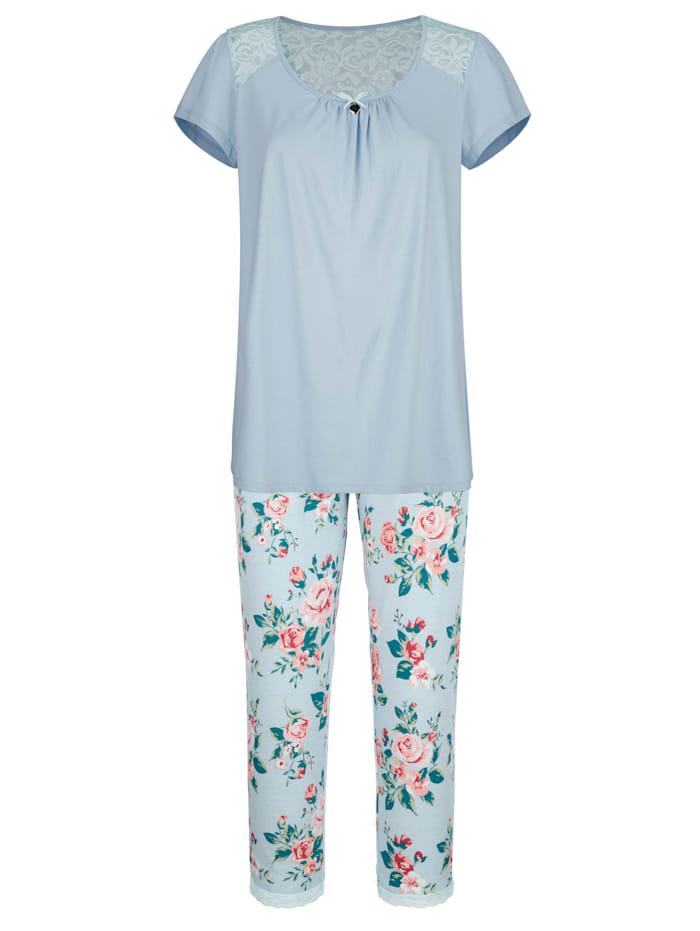 Simone Pyjama met elastische details van kant, Lichtblauw/Roze/Mint