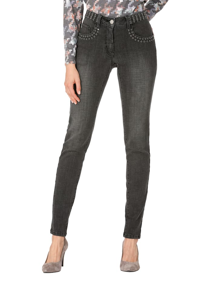 AMY VERMONT Jeans met strassteentjes, Grijs