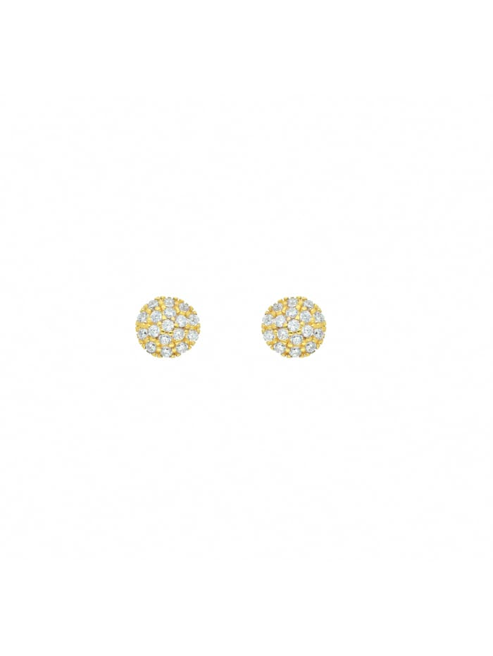 1001 Diamonds Damen Goldschmuck 585 Gold Ohrringe / Ohrstecker mit Zirkonia Ø 5,5 mm, gold