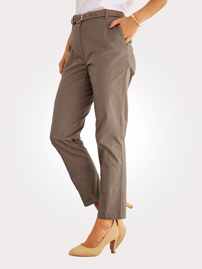 MONA Pantalon chino 7/8 en coton mélangé extensible, Taupe
