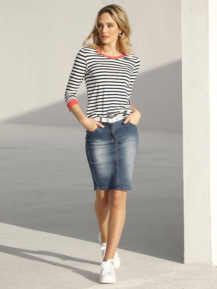 AMY VERMONT Shirt im Streifendessin und mit Strasssteindekoration im Vorderteil, Marineblau/Off-white/Koralle
