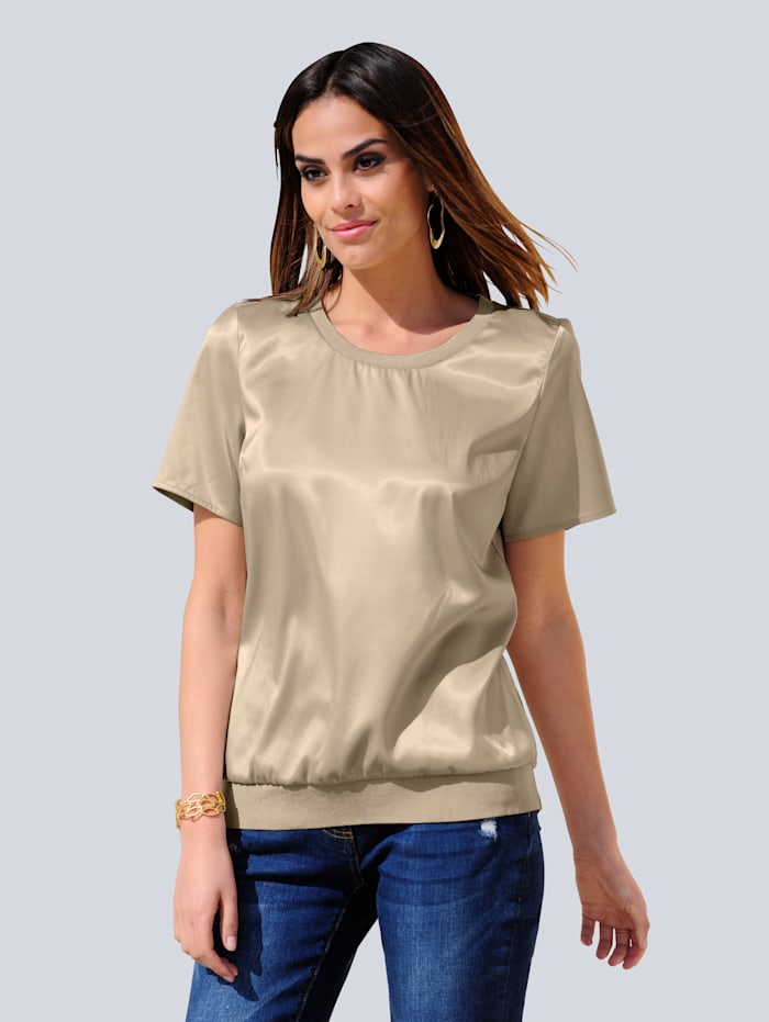 Alba Moda Shirt im Materialmix, Stein