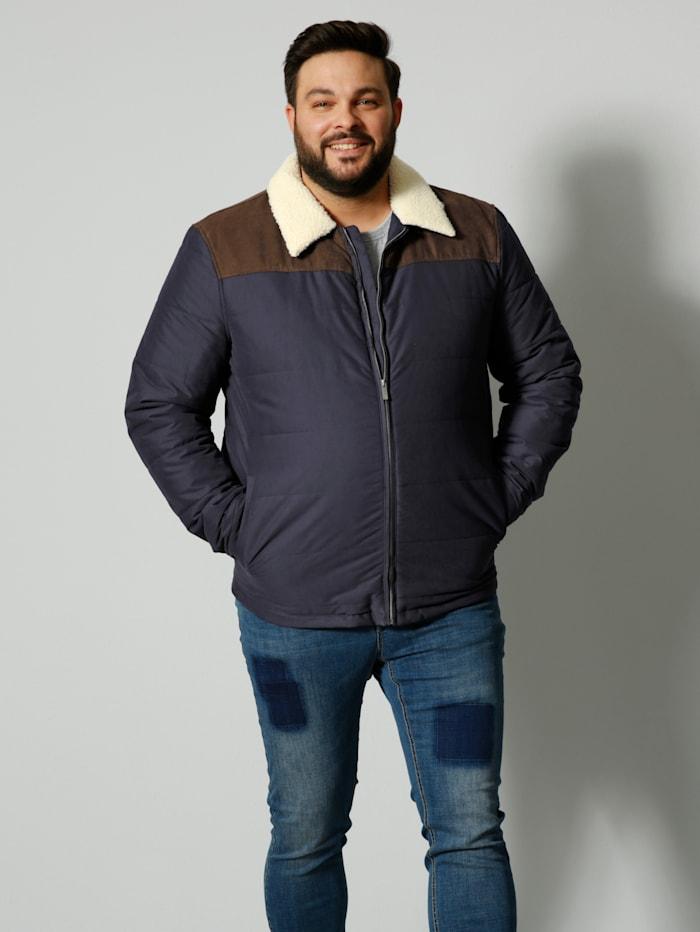Men Plus Gewatteerde jas met teddyvacht, Marine/Bruin