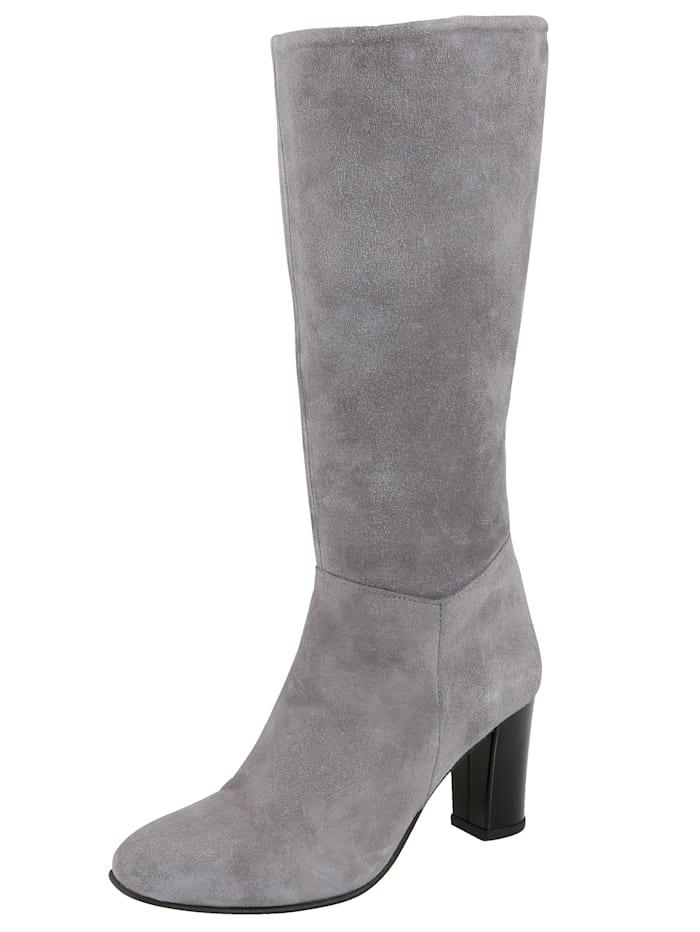 Stiefel aus feinem Veloursleder, Grau