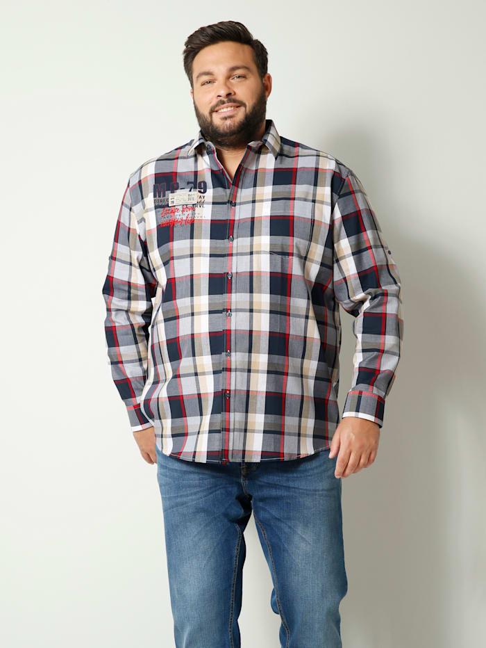 Men Plus Hemd aus reiner Baumwolle, Marineblau/Rot