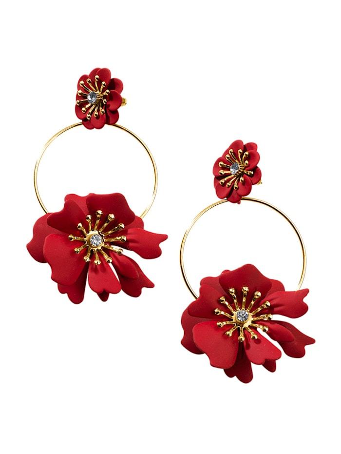 Alba Moda Ohrhänger mit Blütendekoration, Rot