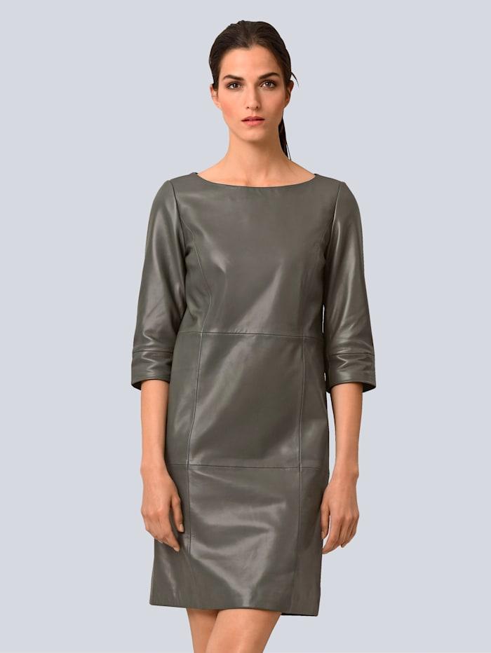Alba Moda Kleid aus softem Lammnappa, Taupe