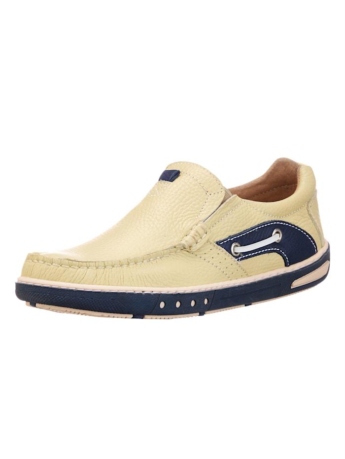 Slipper im Bootsschuh Stil, Beige/Blau