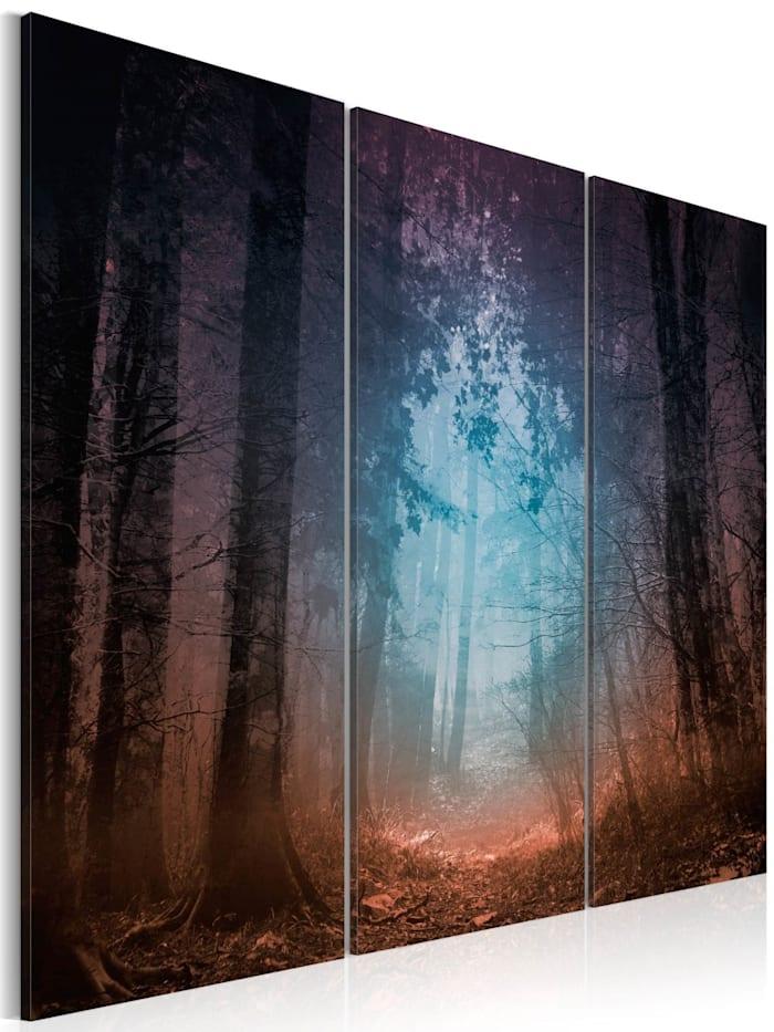 artgeist Wandbild Edge of the forest - triptych, Schwarz,Blau,Orange,Violett
