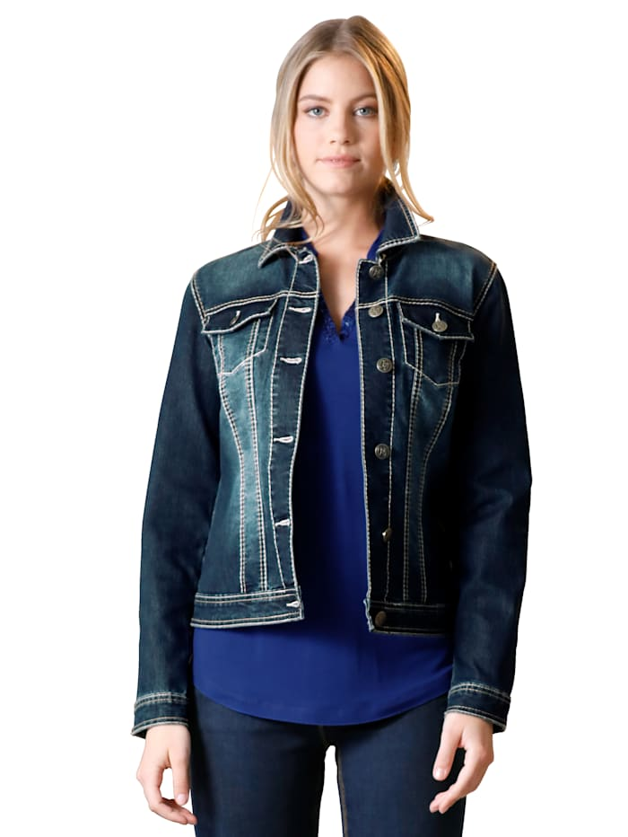 AMY VERMONT Veste en jean à coutures contrastantes, Bleu