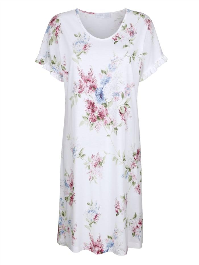 MONA Nachthemd mit romantischen Rüschen an den Ärmeln, Weiß/Rosé/Hellblau