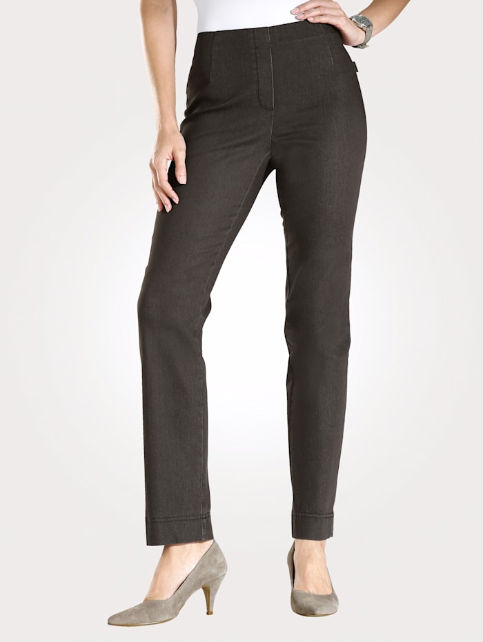 MONA Pull-on trousers made from a comfortable fabric, Brown