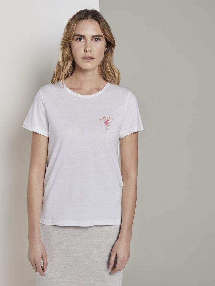 Tom Tailor T-Shirt mit Print, Whisper White