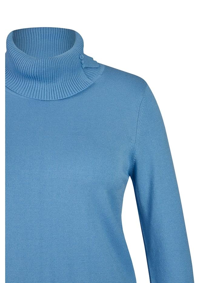 Pullover im Uni-Design mit Zierknöpfen
