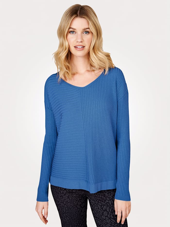 Artigiano Knitted tunic with a flattering V-neck, Blue