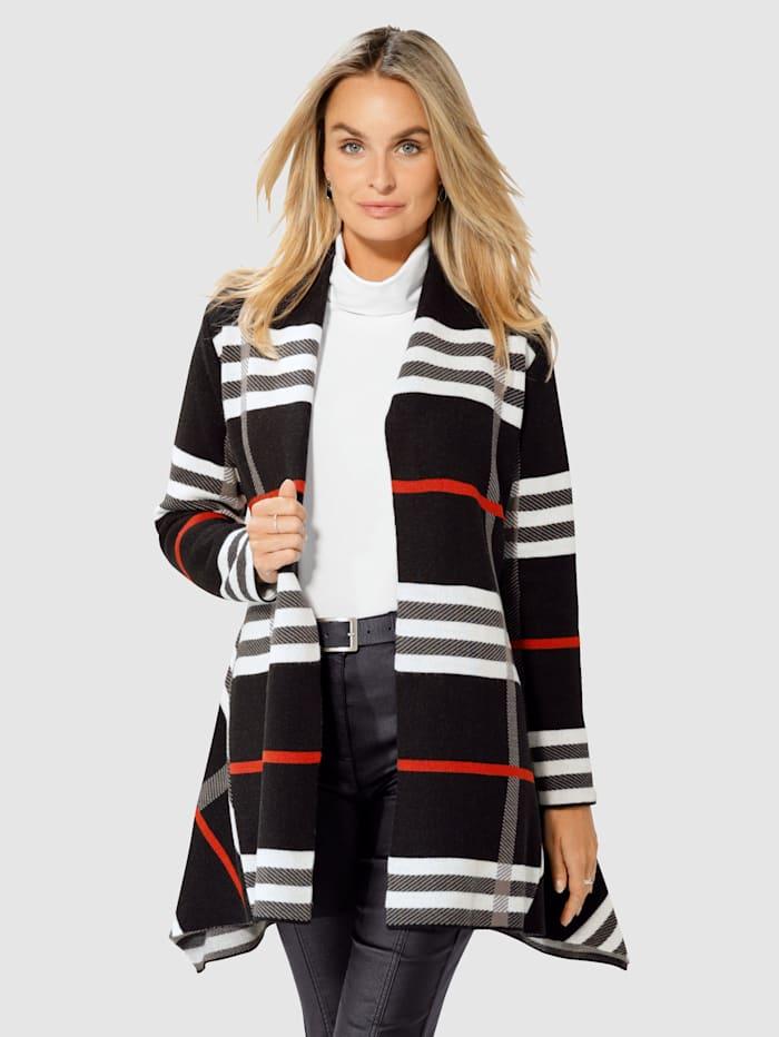 Paola Vest zonder sluiting, Zwart/Grijs/Steenrood