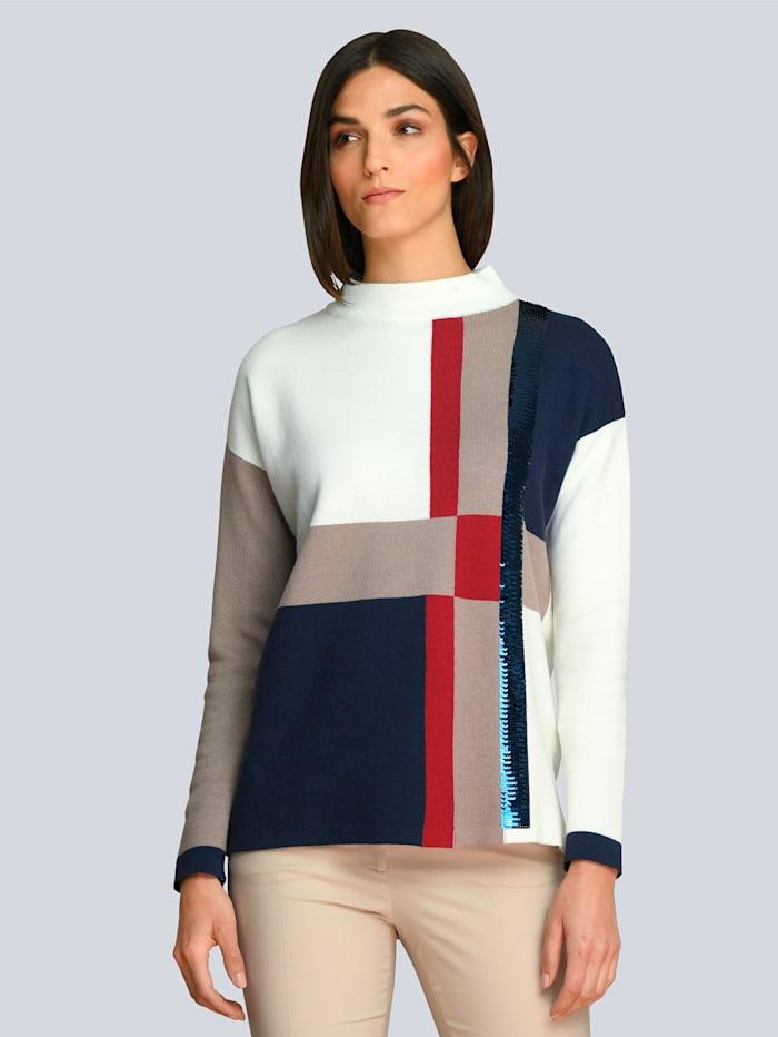 Alba Moda Pullover partiell mit Pailletten, Creme-Weiß/Marineblau/Rot