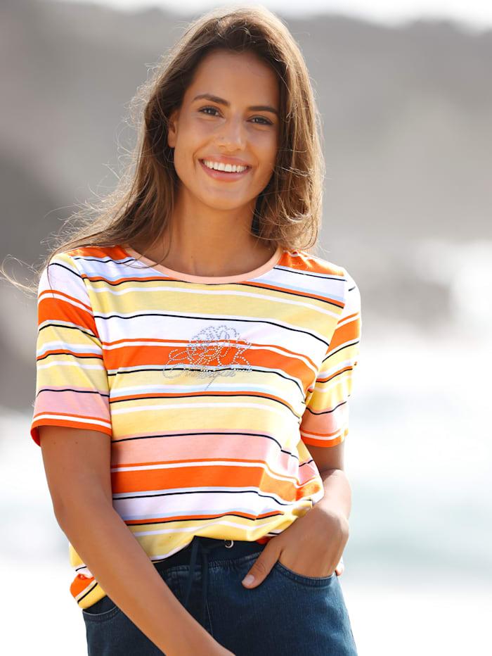 basically you Shirt mit Streinchendekoration, Weiß/Orange