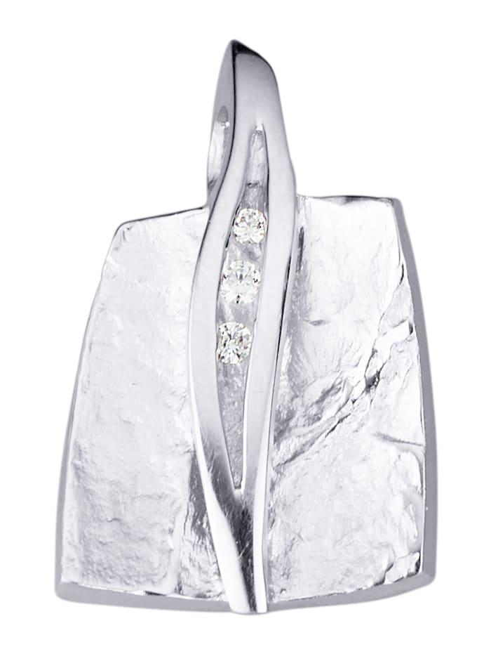 Diemer Silber Anhänger mit Zirkonia, Silberfarben
