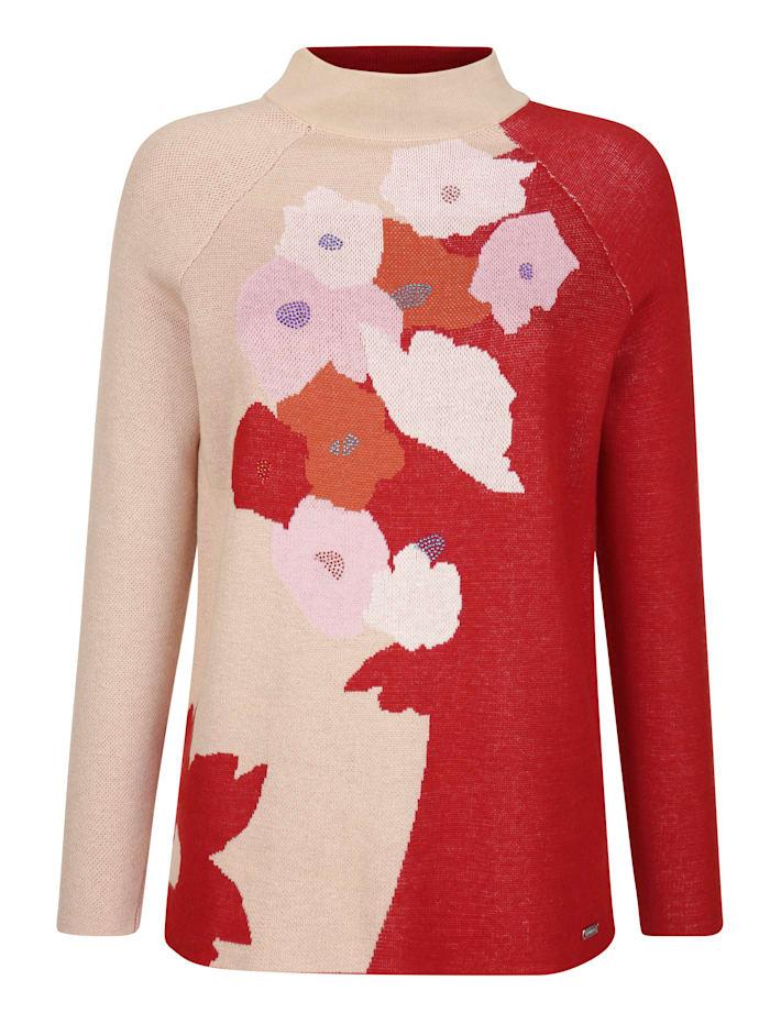 AMY VERMONT Pullover mit floralem Muster, Beige/Orange