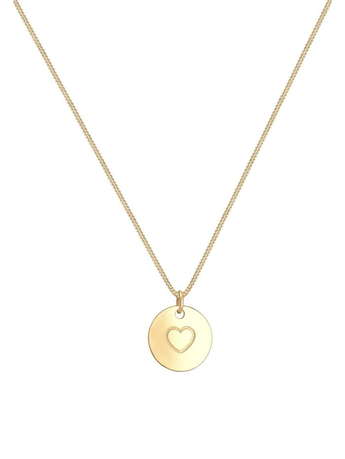 Halskette Herz Münze Love Geo Platte 925Er Sterling Silber