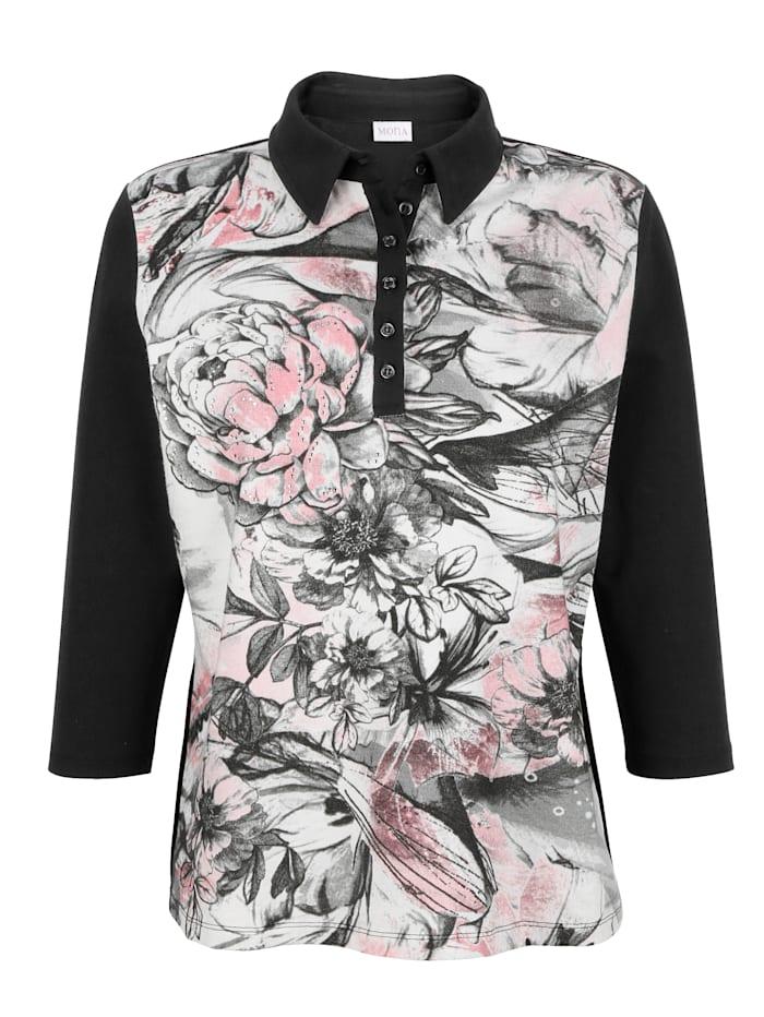 MONA Poloshirt mit platziertem Blumendruck, Schwarz/Rosé