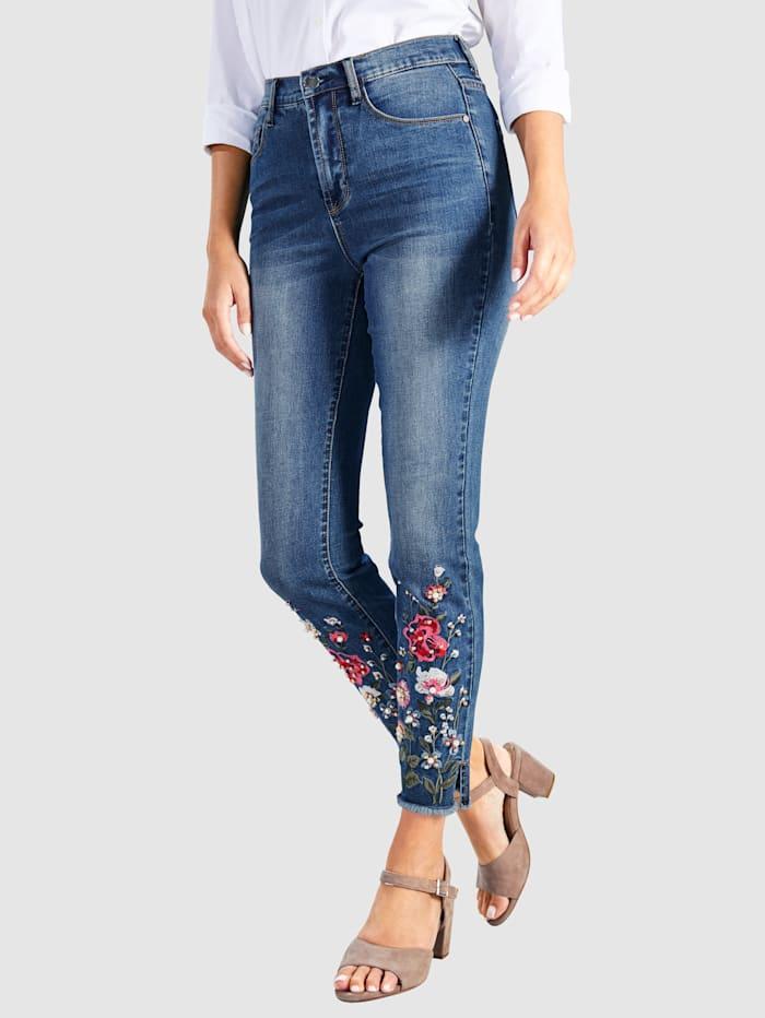 7/8-jeans met bloemenborduursel aan de zoom