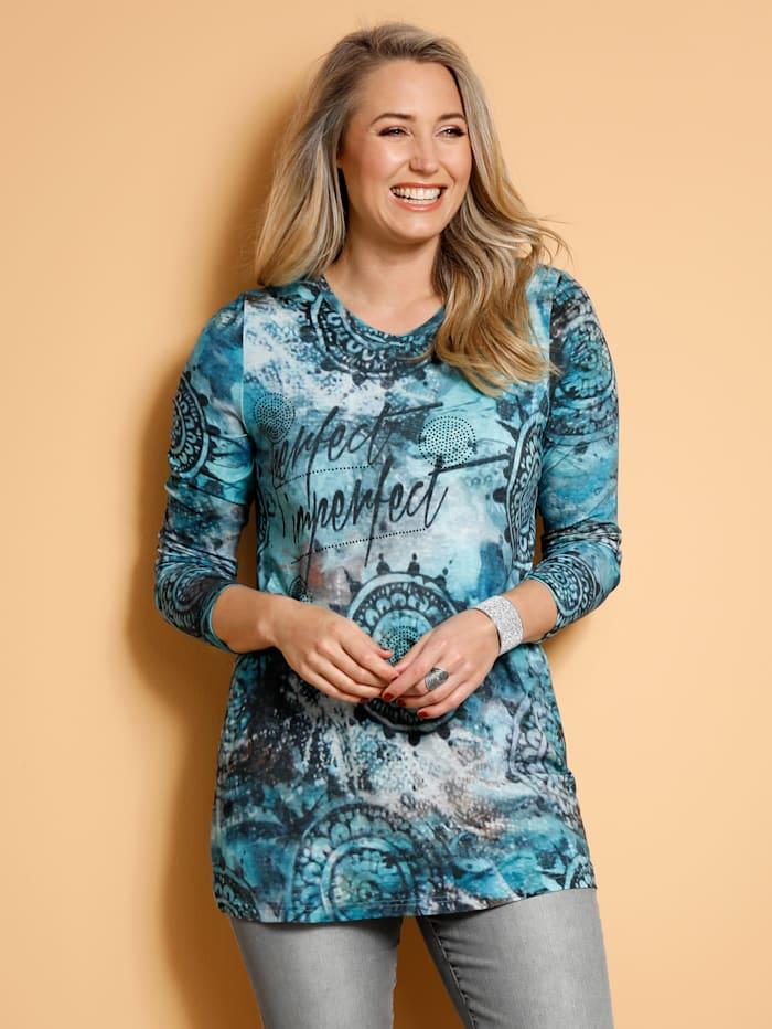 MIAMODA Shirt met siersteentjes, Turquoise/Grijs