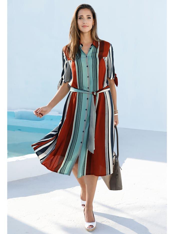 MIAMODA Kleid mit Streifendruck, Terracotta/Türkis/Marineblau