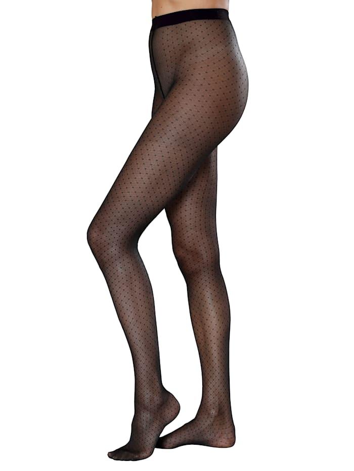 Panty met ruitpatroon en stippen