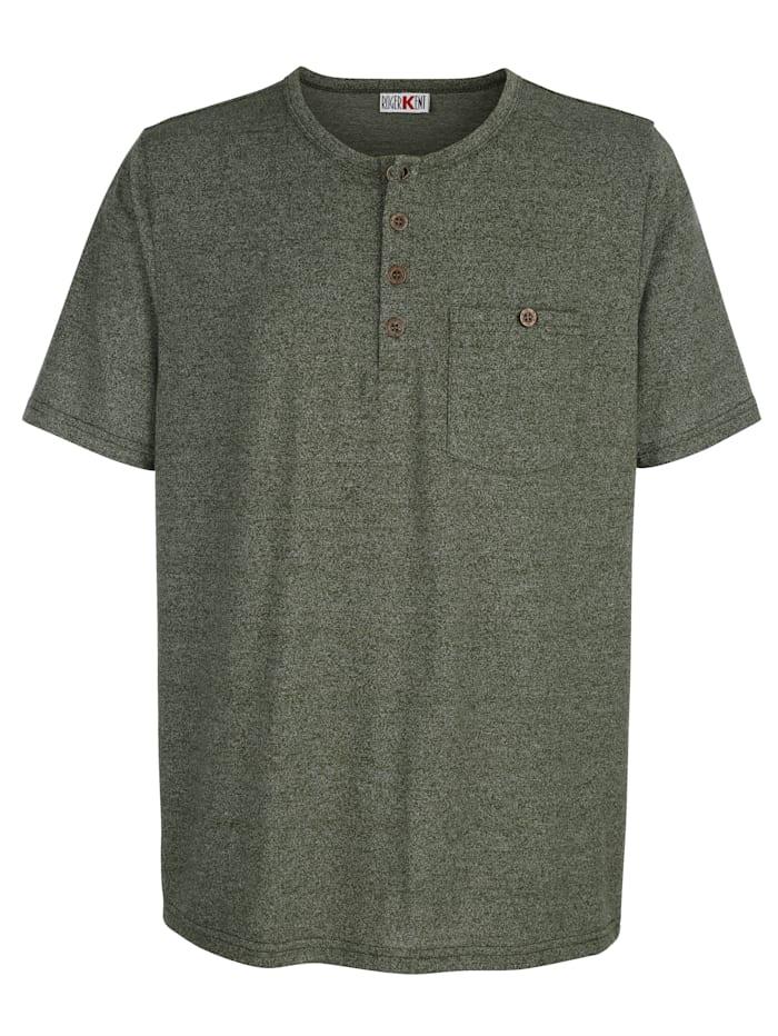 Roger Kent T-shirt med rund halsringning och kort knappslå, Khaki